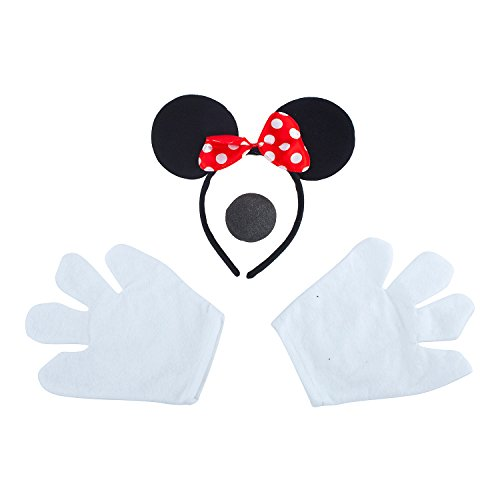 Lux Accessories Black Mouse Headband Polka Bow Nose Glove Costume Dressup