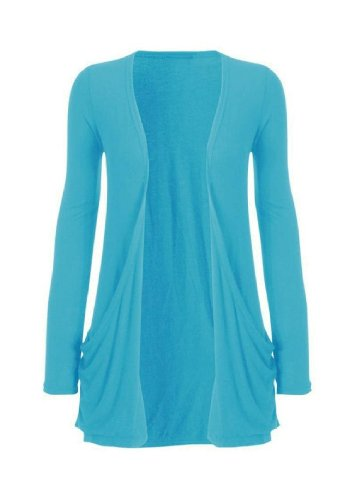 Hot Hanger Ladies Plus Size Pocket Long Sleeve Cardigan 16-26 (24-26 XXXL, Turquoise)