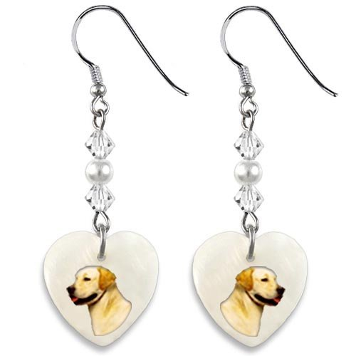 (Timest - Yellow Labrador Retriever - Mother Of Pearl Heart Earrings EP0276)