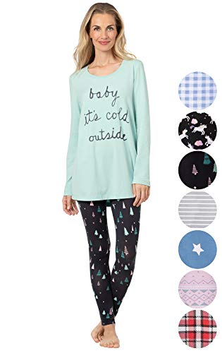 - Addison Meadow Winter Pajamas for Women - Christmas PJs Women, Aqua, XS, 2-4