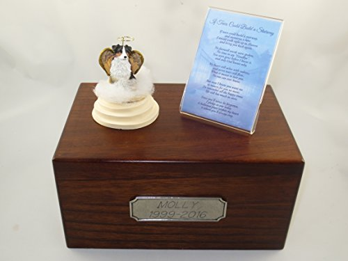 (Beautiful Paulownia Medium Wooden Urn with Tri-Color Austrailian Shepherd Stairway to Heaven Figurine with Poem & Personalized Pewter Engraving)