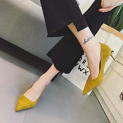 Temperament Spring zapatos Color 38 Suede Coral Zapatos Individuales alto Amarillo Female Yellow Heels Stiletto Blanco de tacón Heel Shallow Yukun Touth 7BpxIdXqwB