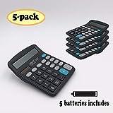 SUNYANG Calculator 5 Packs, Electronic Desktop Calculator 12 Digit Large Display, Solar Battery LCD Display Office Calculator