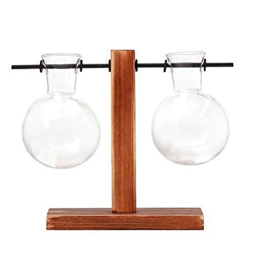 Pangxiannv Table Desk Bulb Glass Hydroponic Vase Flower Plant Pot Wooden Tray Bulb Glass Hydroponic Vase Shelf Vases Teal Vase Decorative Floor Vases White Ceramic Vase Hobby Glass ()