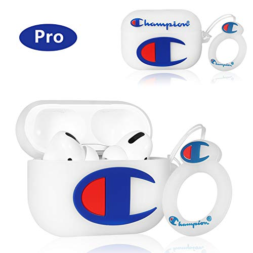 Punswan for Airpods Pro Case,Cute 3D Luxury Character Soft Silicone Stylish Cover, Sport Fun Cool Keychain Style Design Skin,Cases with Lanyard Chain,for Kids Boys Men Air pods Pro/3 (White Winner)