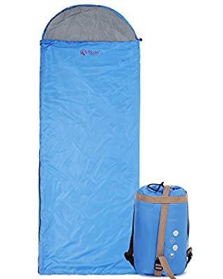 """Ultra Lightweight Sleeping Bag For Backpacking, Comfort for Adults Warm Weather, with Compression Sack Blue/Green(87""""x30"""")"""