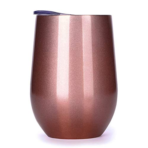 12oz Rose Gold Wine Tumbler Insulated, Stemless Wine Glass, Stainless Steel Coffee Tumbler Cup with Lid for Wine, Coffee, Champagne, Drinks, Cocktails