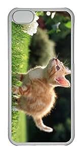 Customized iphone 5C PC Transparent Case - Yellow Cat Cover