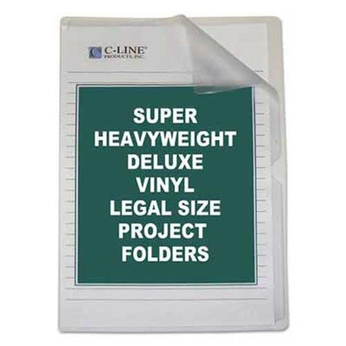 C-Line Deluxe Project Folders, Jacket, Legal, Vinyl, Clear, 50/Box