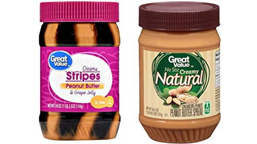 (4 Pack) Great Value Creamy Stripes Peanut Butter & Grape Jelly, 18 oz and (3 Pack) Great Value Natural No Stir Creamy Peanut Butter, 26.5 ounces