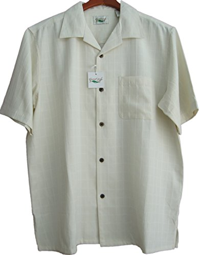 Good-Life-Mens-Silk-Camp-Shirt-Light-Ivory-Classy-Plaid-Casual-Wedding