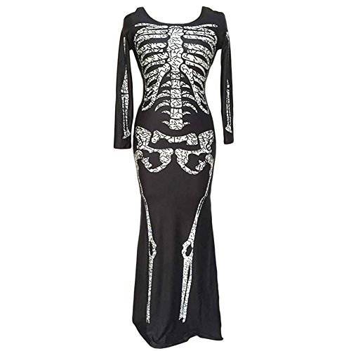 Sunling Women Ugly Halloween Costumes Skeleton Long Sleeve Mini Dress Bodycon for Party (Popular Halloween Costumes In The 1960s)