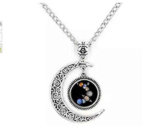 Planet Halskette, Solar System Halskette, Planet Anhänger, Halbmond, Galaxy Halskette xinzhahi