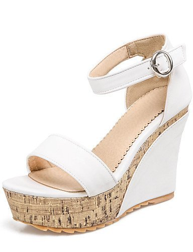 ShangYi Womens Shoes Rubber Wedge Heel Wedges / Comfort / Open Toe Sandals Office & Career / Dress Black / White White