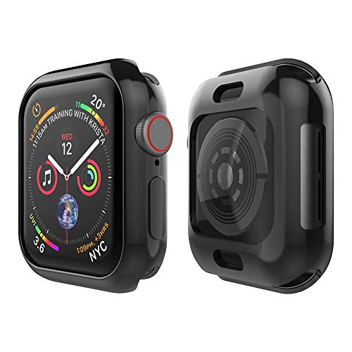 Curved Cascade Fountain - Tech Express Metallic Chrome Bumper Protection Case for Apple Watch Series 4 [iWatch Cover] Rugged Skin TPU Gel Cover Shockproof Tough Full Body Screen Access Open Front (Black, 44mm)