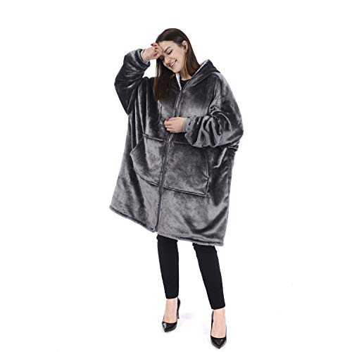 - Chemstar Reversible Comfort Hoodie Blanket Sweatshirt, Oversize Wearable Fleece Blanket Warm Coat (Light Grey)