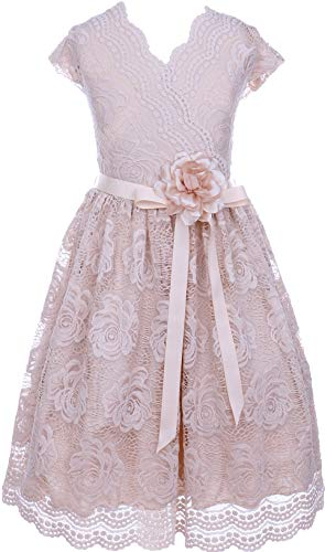 BNY Corner Flower Girl Dress Curly V-Neck Rose Embroidery Allover for Big Girl Champagne 16 JKS.2066 -