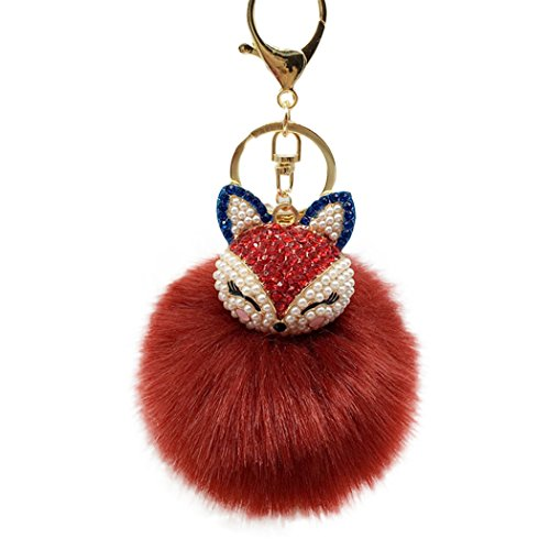 Fox Keychain (Raylans Women Faux Rabbit Fur Pom Pom Ball Fox Head Rinestone Bag Car Charm Keychain Pendant,Wine red)