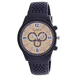 Lumex Men's Gold Dial Rubber Band Casual Watch - MS55BS5