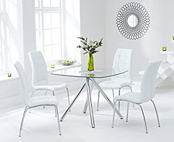 Oak Furniture House Valencia 100 cm Cristal Mesa de Comedor Blanco y ...