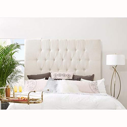 Tall Tufted Cream Upholstered Queen Headboard Traditional Fabric Padded by Unknown
