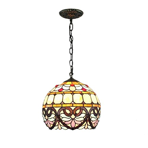 Baroque Peach - Tiffany Style Pendant Lamp, European Vintage Stained Glass Peach Shaped Design Chandelier, Baroque Sphere Decoration Pendant LightsSuitable For Restaurant Bedroom Balcony E27 Without Light Source