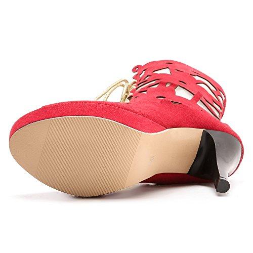 Coolcept Women Peep Toe Bootie Sandals Heels Red-53 SuqXSwX