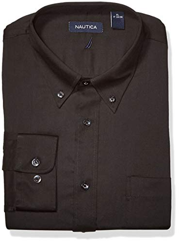 Nautica Men's Classic Fit Button Down Collar Dress Shirt, Black 15.5 32/33