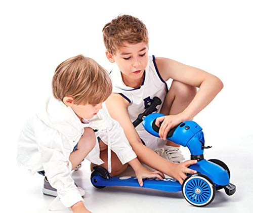 Children's scooter kick scooter children's children 4 wheel scooter, 2 in 1 super wide wheel kids scooter balance car / slide car, one button conversion adjustable height handle, scooter children boys by JBHURF (Image #3)
