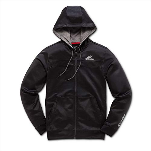 Alpinestars Men's Full Zip Hooded Sweatshirt Modern Fit 240 GSM Motorsports Poly Fleece, Freeride Black, ()