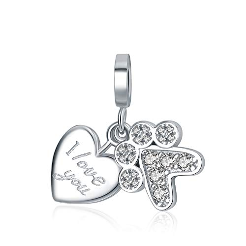AMATOLOVE Mothers Day I Love You Dog Mom Paw Print Pendant 925 Sterling Silver Charms Fit Bracelets Jewellery