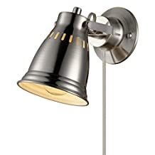 Globe Electric 65141 Modern, Industrial Cuvillier 1 Light Wall Sconce Plug-In or Hardwired Conversion Kit, Brushed Steel Finish