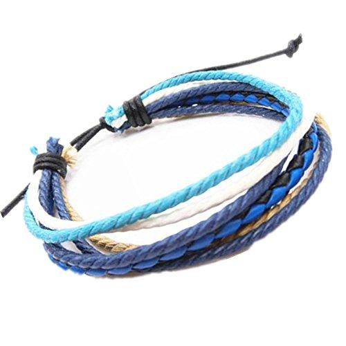 Coolla Mens Leather Cuff Bracelet Fashion Adjustable Leather Wristband Cuff Bracelet Sl2787