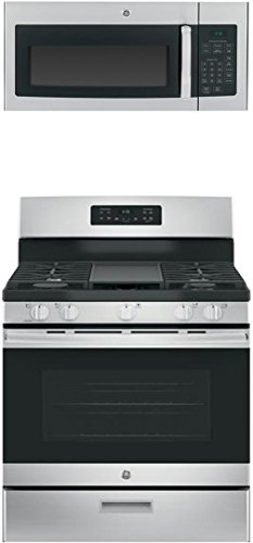 GE 2-Piece Kitchen Appliance Package with JGBS66REKSS 30 Freestanding Gas Range and JVM3160RFSS 30 Over the Range Microwave in Stainless Steel