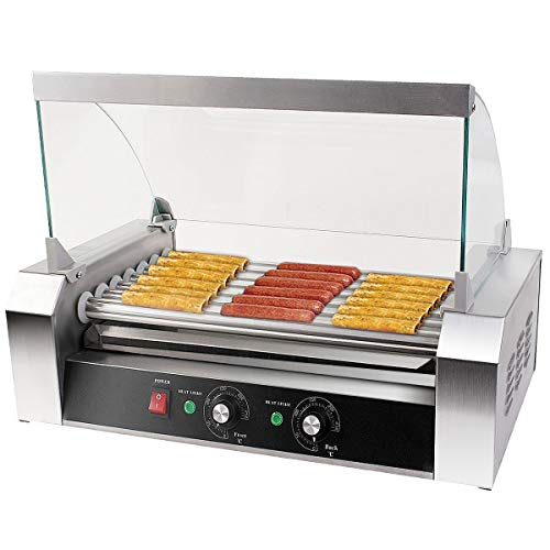 Giantex Electric Sausage Grill Hot Dog Grill Cooker 7 Rollers for 18 Hotdogs Stainless Steel Hot Dog Warmer Sausage Grilling Machine Sausage Roller Grill w/Cover, Commercial Grade 1200W