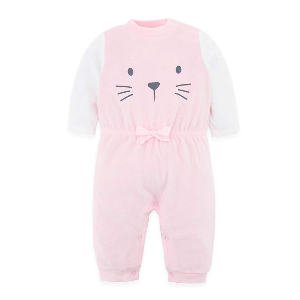 Newborn Infant Baby Girl Boy Cartoon Cute Velvet Hooded Jumpsuit Romper Clothes Sannysis Baby Clothes Girls