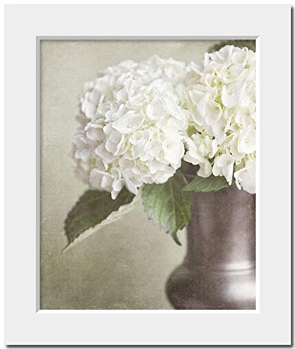 Shabby Chic Home Decor Matted 8x10 Photograph (Fits 11x14 frame). Off-White Hydrangea Cottage Chic Botanical Wall Art Print. Ready to Frame.