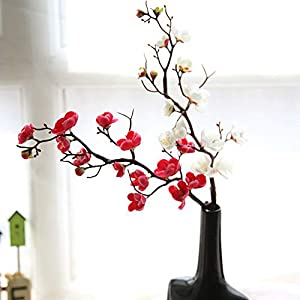 HOUTBY 6 Pcs Artificial Flowers Spring Cherry Plum Blossom Fake Flowers Bouquet Branch Silk Flower for Home Wedding Decoration DIY 34