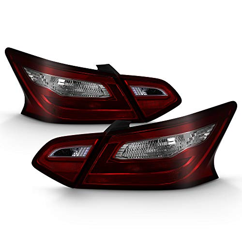 ACANII - For Nissan Altima Sedan Models Tail Lights Brake Lamps Red Smoke 4pcs Set Driver & Passenger Side ()