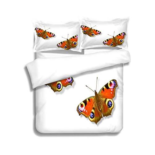 - VROSELV-HOME Kids Quilt 3 Piece Bedding Set,Peacock Butterfly with Clipping Paths,Soft,Breathable,Hypoallergenic,with Sham and Decorative 2 Pillows,Full Queen