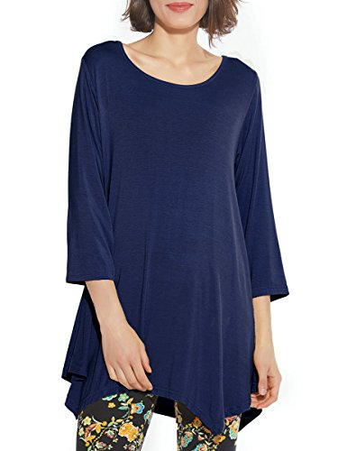 BELAROI Women 3/4 Sleeve Swing Tunic Tops Plus Size T Shirt (1X, Navy Blue)