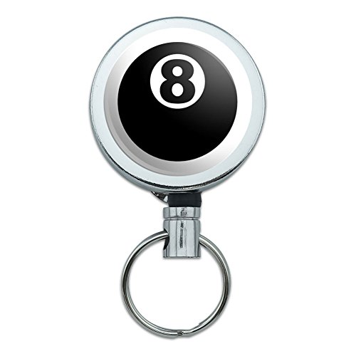 Metal Retractable Reel ID Badge Key Holder with Belt Clip Sports and Hobbies - Eight Ball Pool (Billiards Billiard Balls Pool)