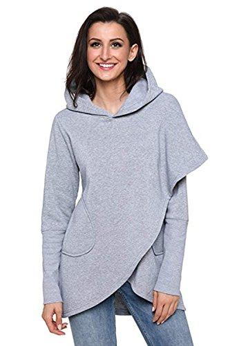 M.Brock Women's Wrap Asymmetric Hem Hoodie Long Sleeve Pullover Sweatshirts Outwear Tops Heavy -