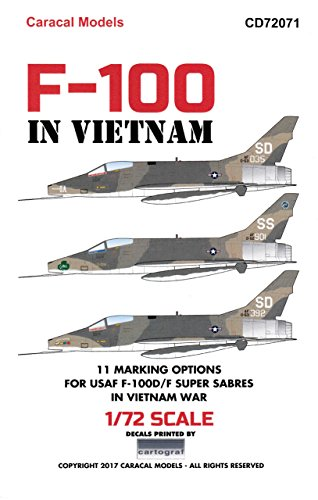 CARCD72071 1:72 Caracal Models Decals – F-100 Super Sabre in Vietnam [WATERSLIDE DECAL SHEET]