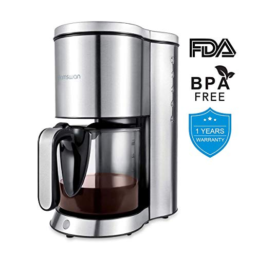 HAMSWAN Drip Coffee Maker, AD-103 Coffee Maker Coffee Pot, Small 10 Cup Coffee Machine with Glass Thermal Carafe, Insulated, Keep Warm, Automatic Shut Off for Single Serve & House Use