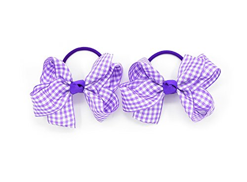 "Pair school 2/"" bow clip purple /& purple white gingham"