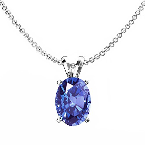 Dazzlingrock Collection 10K White Gold 9x7 mm Oval Cut Tanzanite Ladies Solitaire Pendant (Silver Chain Included) (Tanzanite Pendant)