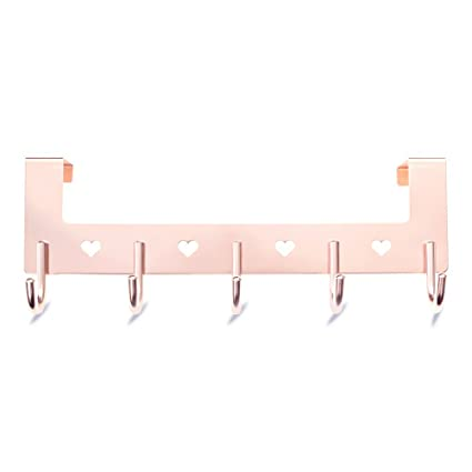 Gulevy Rose Gold Over The Door Hook Organizer Rack   5 Hook Over Door Hanger  Hook