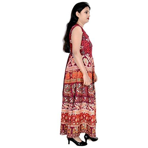 Marrone Kurti Lungo Donne Abito Vestito Sttoffa D2 Rajasthani FzpwCwnq