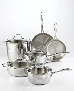 Martha Stewart Collection 10 pc Tri Ply Stainless Steel Cookware Set